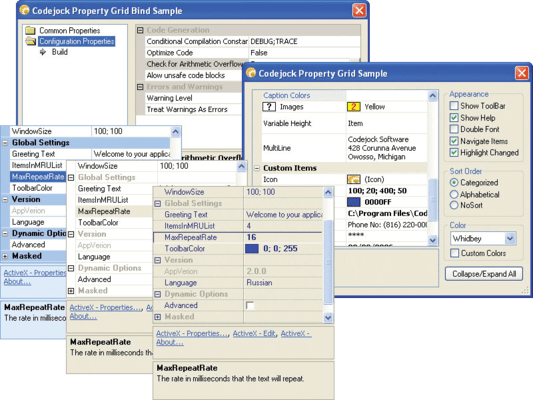 Screenshot of Codejock Property Grid ActiveX