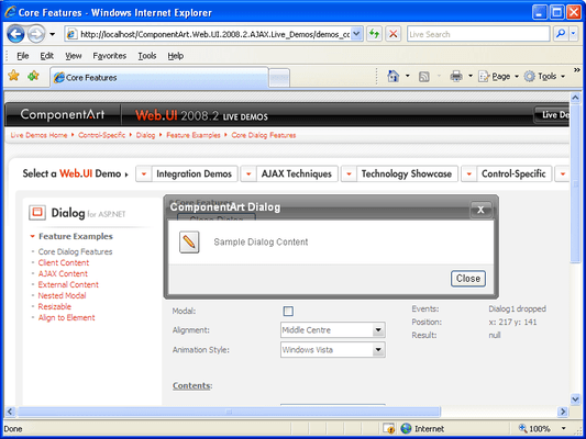 Screenshot of ComponentArt Dialog for ASP.NET