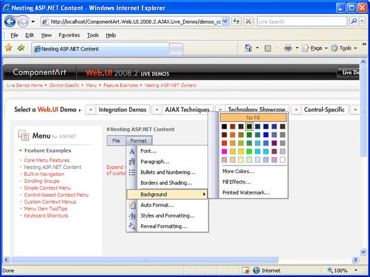 About ComponentArt Menu for ASP NET