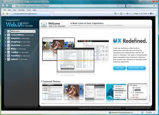 Captura de pantalla de ComponentArt Web.UI for Silverlight