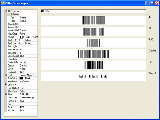 ComponentOne Barcode for WinForms 屏幕截图
