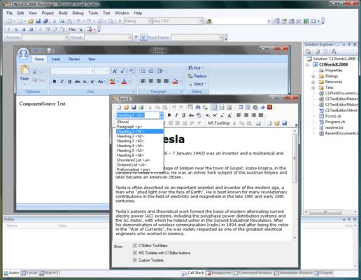 ComponentOne Editor for WinForms(英語版) のスクリーンショット