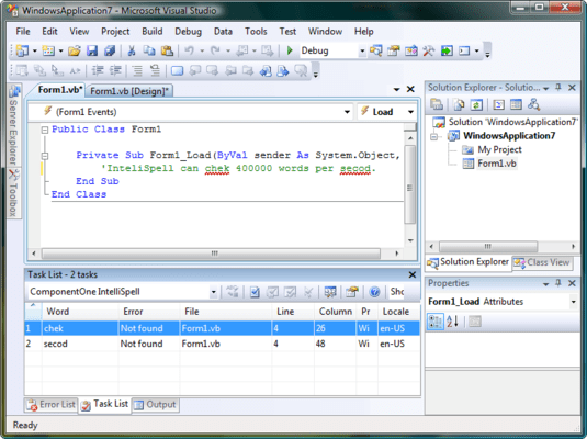 Screenshot of ComponentOne IntelliSpell