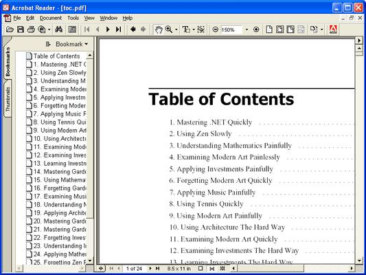ComponentOne PDF for WinForms(英語版) のスクリーンショット