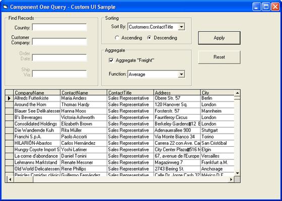 ComponentOne Query(英語版) のスクリーンショット
