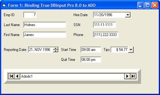 True DBInput Pro(英語版) のスクリーンショット