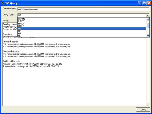 Screenshot of ComponentSpace DNS Component