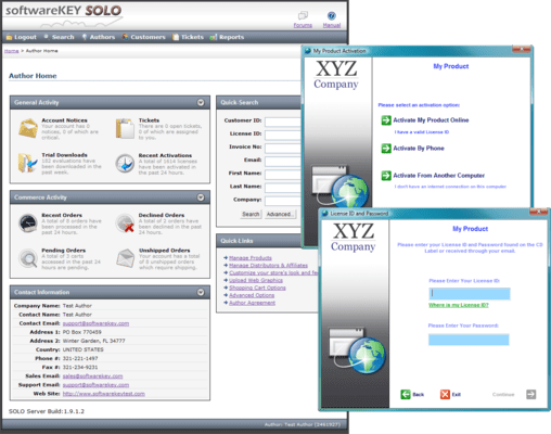 Screenshot of SoftwareKey Licensing System
