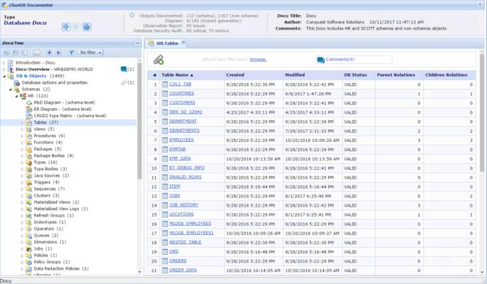 Schermata di ClearDB Documenter