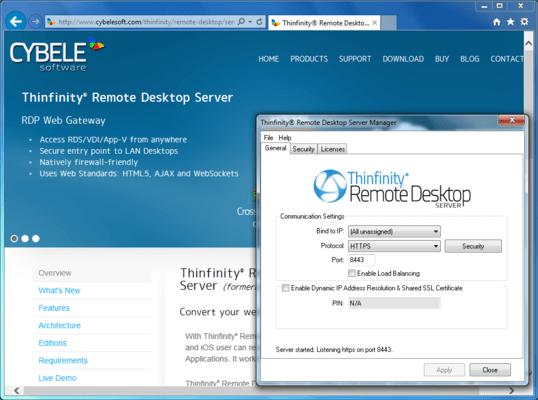 Screenshot of Thinfinity Remote Desktop Server