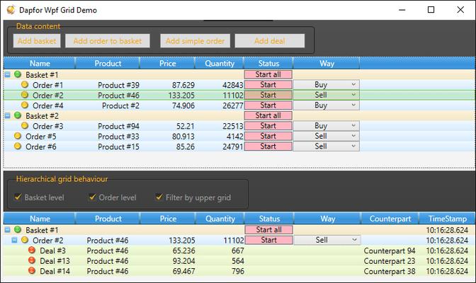 Dapfor Wpf GridControl のスクリーンショット