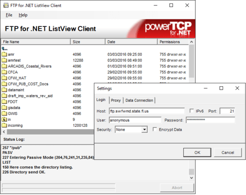 Screenshot of PowerTCP FTP for .NET