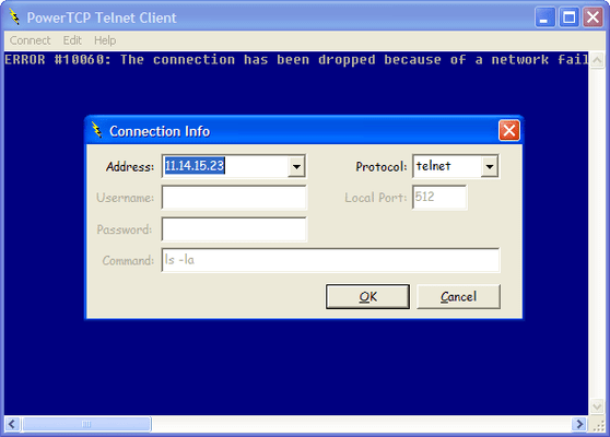 Screenshot of PowerTCP Telnet for ActiveX