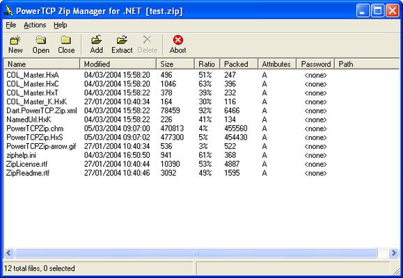 Screenshot of PowerTCP Zip Compression for .NET