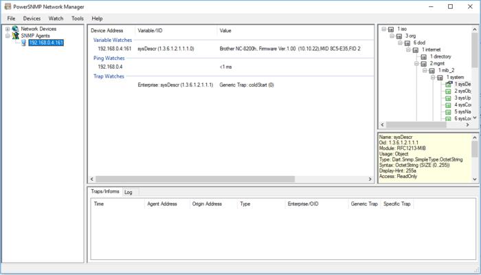 Screenshot of PowerSNMP Network Manager