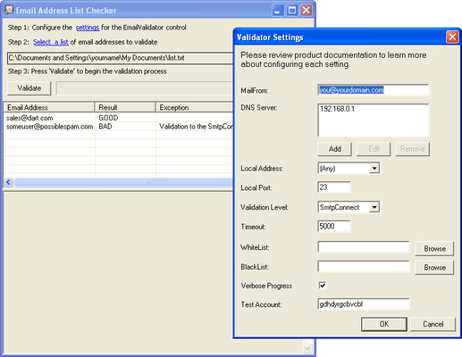 Screenshot of PowerTCP Email Validation for .NET