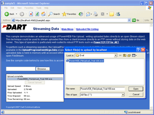 Screenshot of PowerWEB File Upload for ASP.NET