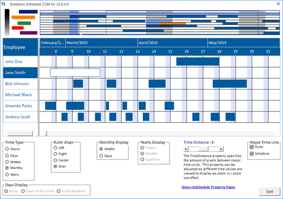 Screenshot of Solutions Schedule COM 64