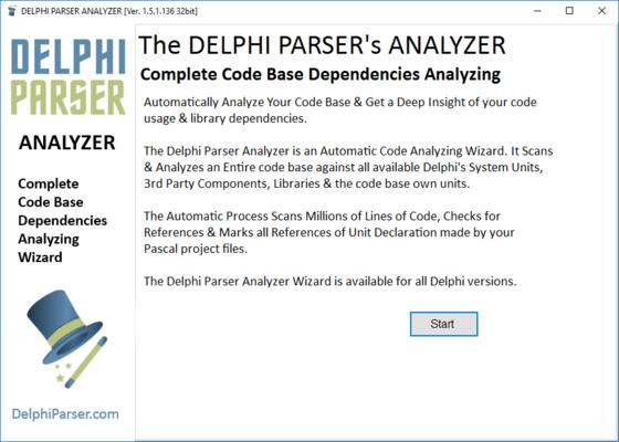 Screenshot of Delphi Parser Code Dependencies Analyzing Wizard