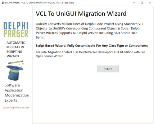 Screenshot of Delphi Parser VCL to UniGUI Migration Wizard