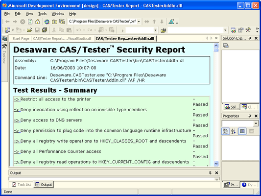 Screenshot of CAS/Tester