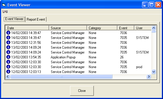 Screenshot of Event Log Toolkit