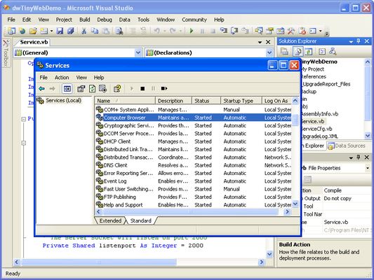 Screenshot of Desaware NT Service Toolkit .NET Edition