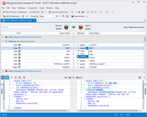 Screenshot of dbForge Compare Bundle for Oracle