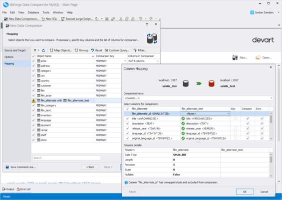Captura de tela do dbForge Data Compare for MySQL