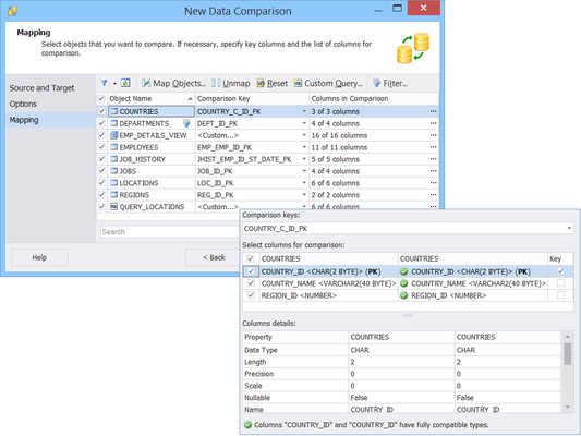Screenshot of dbForge Data Compare for Oracle
