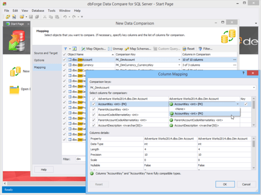 Capture d'écran de dbForge Data Compare for SQL Server