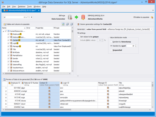 Screenshot von dbForge Data Generator for SQL Server