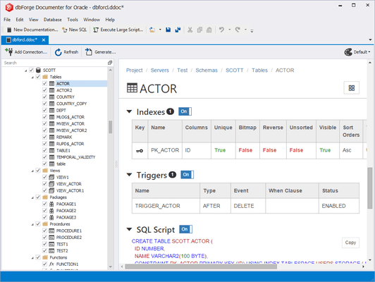 Screenshot of dbForge Documenter for Oracle