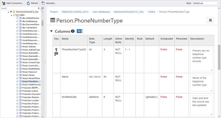 Schermata di dbForge Documenter for SQL Server