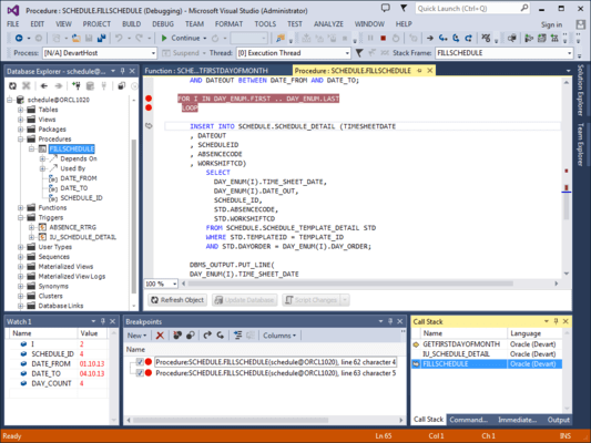 Screenshot of dbForge Fusion for Oracle