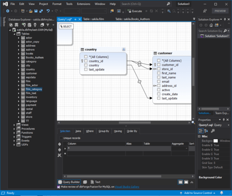 Captura de pantalla de dbForge Fusion for SQL Server
