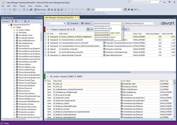 Schermata di dbForge Index Manager