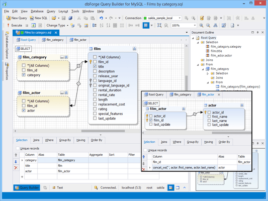 Screenshot of dbForge Query Builder for MySQL