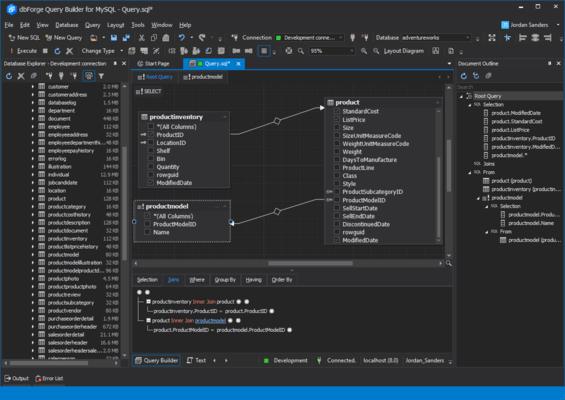 Screenshot of dbForge Query Builder for MySQL