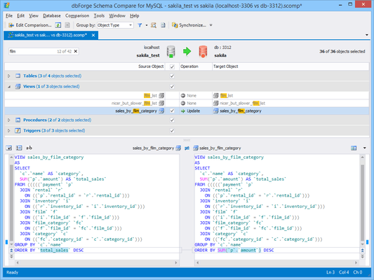 Screenshot of dbForge Schema Compare for MySQL