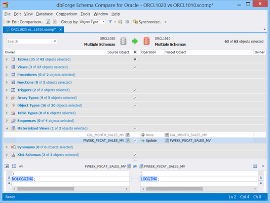 Screenshot of dbForge Schema Compare for Oracle