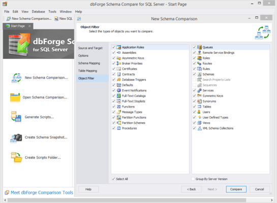 Screenshot of dbForge Schema Compare for SQL Server