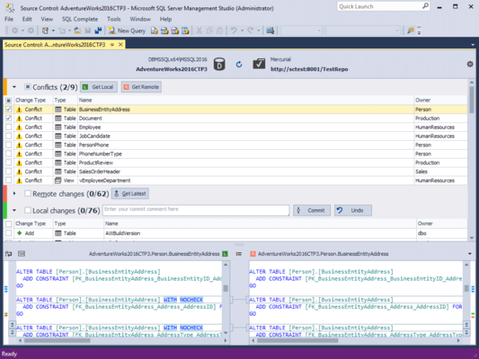 Screenshot of dbForge Source Control for SQL Server