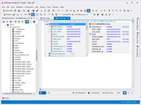 Screenshot of dbForge Studio for Oracle