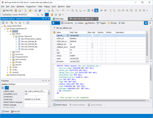 Captura de tela do dbForge Studio for SQL Server