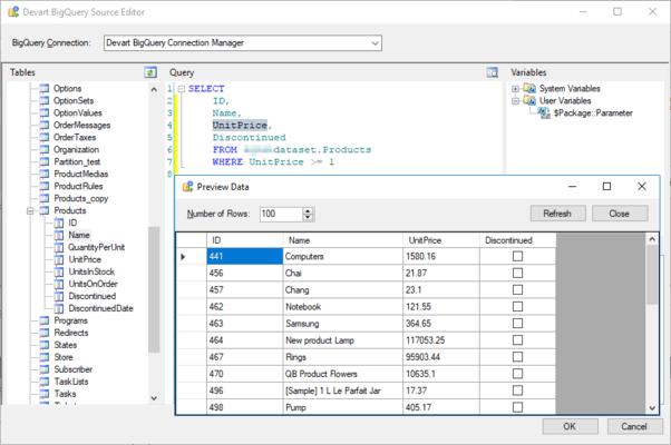 Screenshot of Devart SSIS Data Flow Components for Google BigQuery