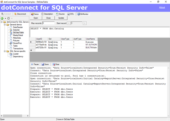 Captura de pantalla de dotConnect for SQL Server