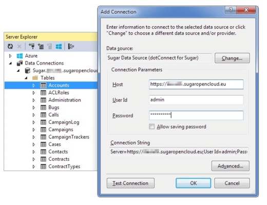 Screenshot of dotConnect for SugarCRM