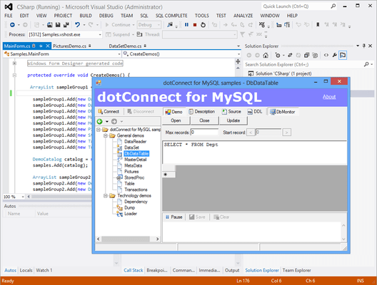 Capture d'écran de dotConnect for MySQL