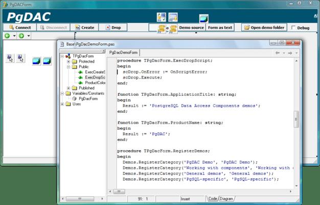 Screenshot of PostgreSQL Data Access Components (PgDAC)